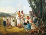 Л.К. Плахов. Отдых на сенокосе. 1840-е