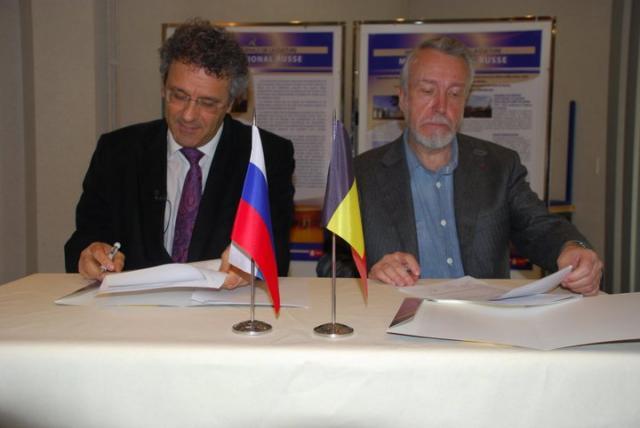 Справа налево: ректор университета Монса, Каложеро Конти; директор Русского Музея, Владимир Гусев