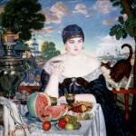 Кустодиев Б.М. Купчиха за чаем. 1918
