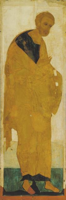 Андрей Рублев. Апостол Петр из деисусного чина в рост. Середина XIV века