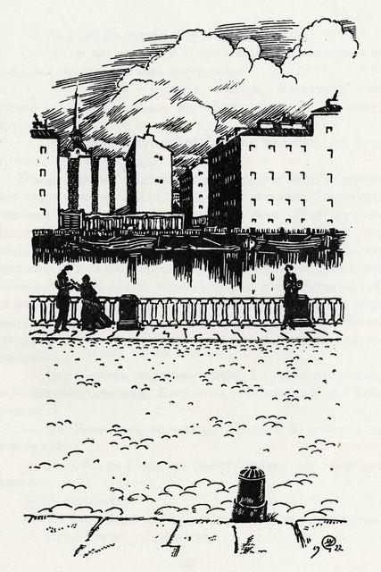 Добужинский М.В.  Ф.М. Достоевский. Белые ночи. Иллюстрация.1922