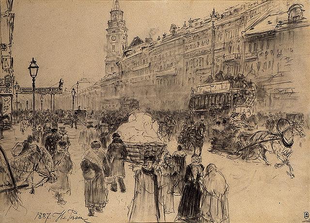 Репин И.Е. Невский проспект. 1887.  ГРМ