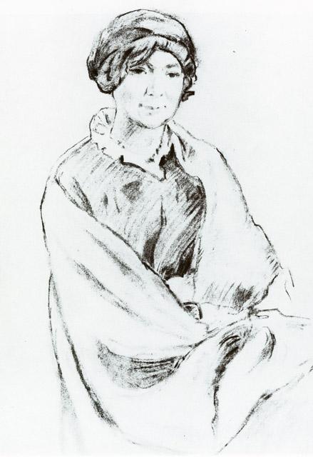 Добужинский М.В. Портрет А.К. Бенуа, жены художника А.Н. Бенуа. 1915. ГРМ