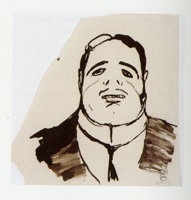 Добужинский М.В. С.П. Дягилев. Карикатура. Середина 1900-х . ГРМ