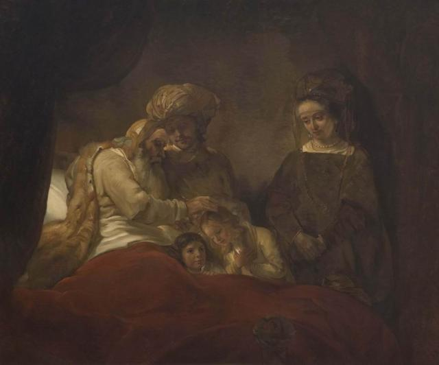 "Swertschkoff W. A copy from the Rembrandt's work  ""Jacob blesses Joseph's sons"". 1848"